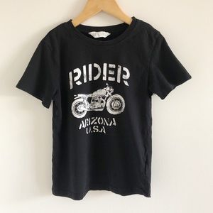 H&M Arizona Rider Bike Motorcycle Black Tee 6-8y